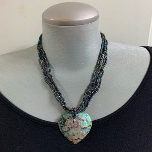 Real Abalone heart pendant necklace